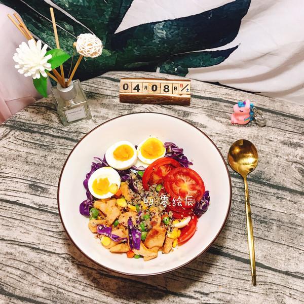 减脂鸡胸肉藜麦蔬菜沙拉的做法
