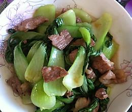 油菜炒肉的做法