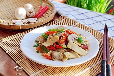 冬笋蘑菇炒火腿