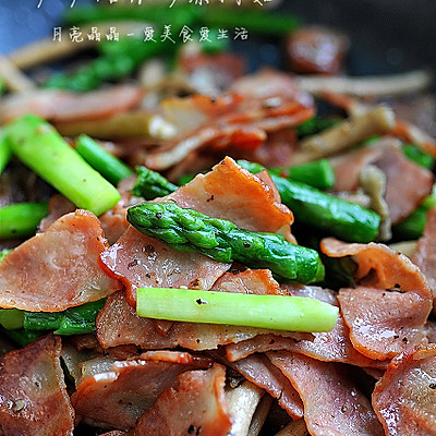 芦笋培根炒茶树菇