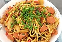 辣白菜五花肉炒面的做法