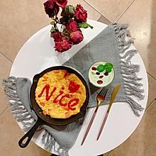 #憋在家里吃什么#新派美味:鸡蛋火腿肠面条煎饼