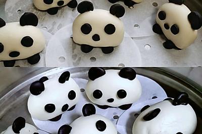 熊貓造型奶香饅頭
