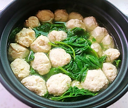 鸡肉丸子(Q弹鲜美、煮豌豆尖版)的做法