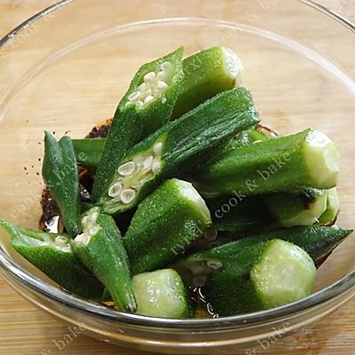 橄露Gallo经典特级初榨橄榄油试用之二——蒜蓉油醋汁拌秋葵的做法 步骤9