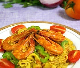 海鲜咖喱饭。的做法