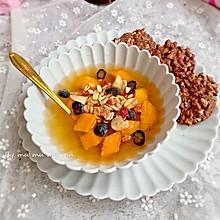 蜜桃果冻水果捞配巧克力坚果饼干#童年不同样,美食有花样#