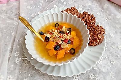 蜜桃果凍水果撈配巧克力堅果餅干#童年不同樣,美食有花樣#