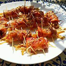 烤培根金针菇卷