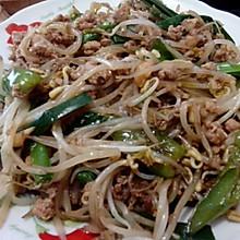 绿豆芽炒肉末