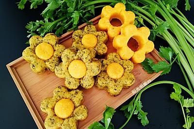 芹菜叶花朵玉米饼#春天不减肥,夏天肉堆堆#