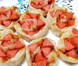 #白色情人节限定美味#吃一次就爱上的香酥火腿肉松饼的做法