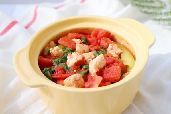 番茄鸡肉蔬菜汤(不加水~)的做法