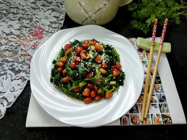 #爽口凉菜,开胃一夏!#菠菜拌花生米的做法
