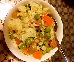 腊肉豌豆焖饭的做法