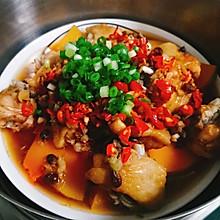 健康菜~有营养的甜咸配——剁椒豉香蒜蓉南瓜蒸翅中
