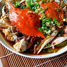 南瓜咸肉蒸白蟹
