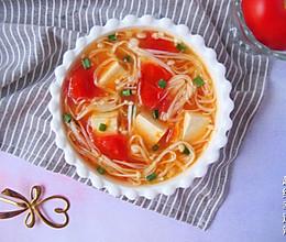 #晒出你的团圆大餐#番茄金针菇豆腐汤的做法