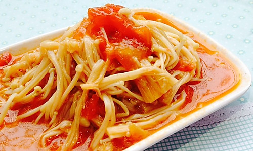 吃过就会爱上--番茄烩金针菇的做法