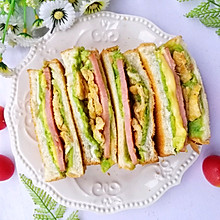 #冰箱剩余食材大改造#牛油果鸡蛋火腿三明治