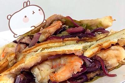 我家有个小吃货-干烧虾三明治