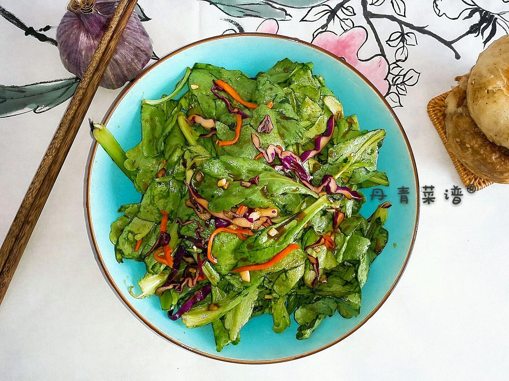 丹青菜谱®&生拌大叶茼蒿@健脾、润肺