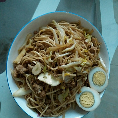 肉末白菜炒面的做法 步骤4