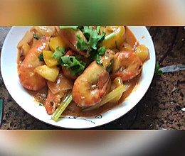 咖喱椰汁大虾的做法