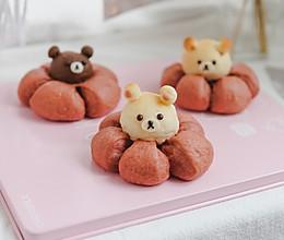 超可爱的小熊花朵面包的做法
