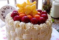 6寸水果奶油花篮裱花蛋糕(附戚风蛋糕制作)的做法