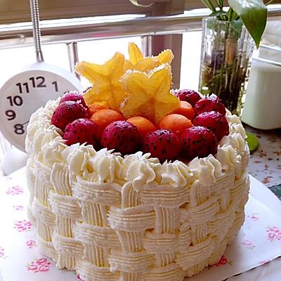6寸水果奶油花篮裱花蛋糕(附戚风蛋糕制作)