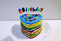 彩虹甜心翻糖蛋糕(奶油和草莓果酱)的做法
