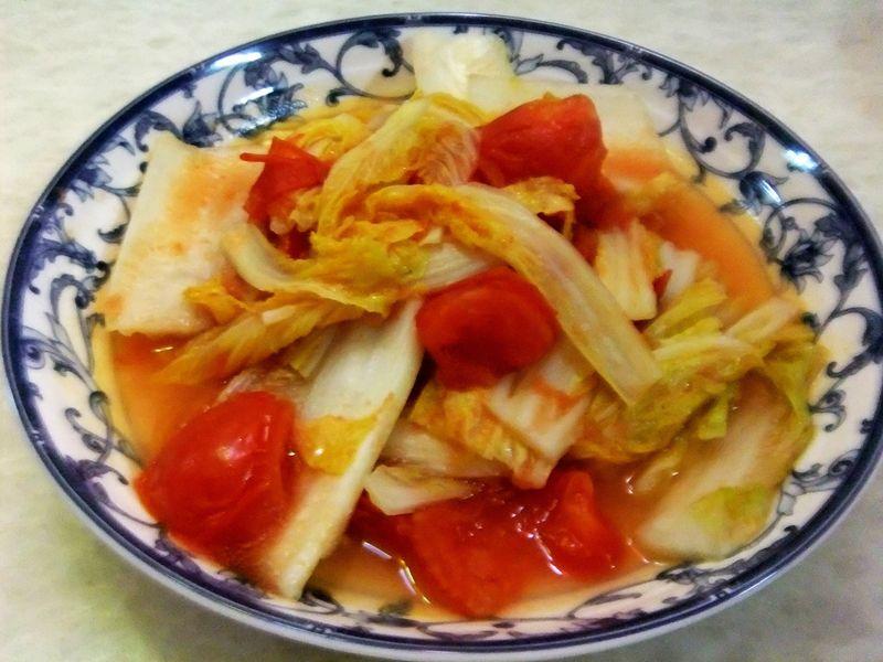 大白菜炒西红柿