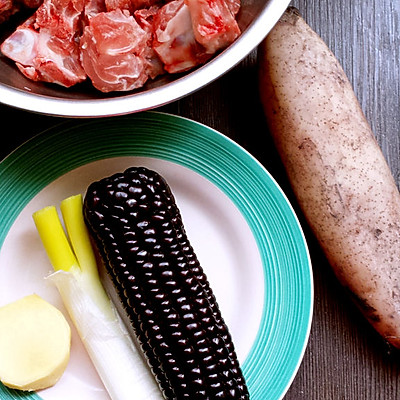 黑玉米莲藕排骨汤的做法 步骤1