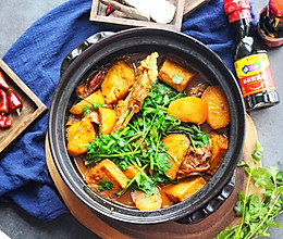 #味达美名厨福气汁,新春添口福#羊蝎子萝卜煲的做法