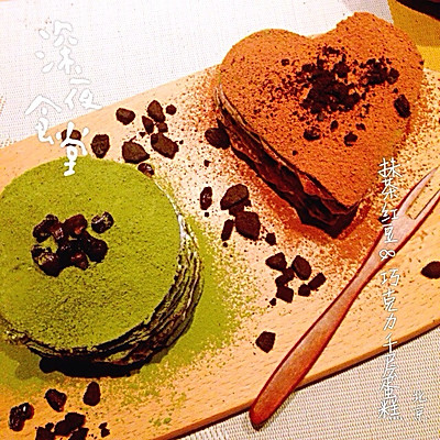 抹茶红豆&巧克力千层蛋糕
