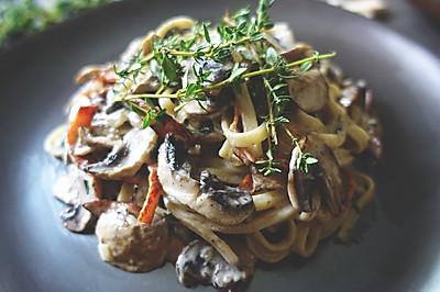 【安卡西厨】火腿蘑菇奶油意大利面