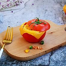 #10分钟早餐大挑战# 芝士焗番茄鲜虾米饭盅