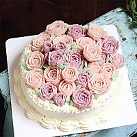 粉玫瑰豆沙裱花蛋糕