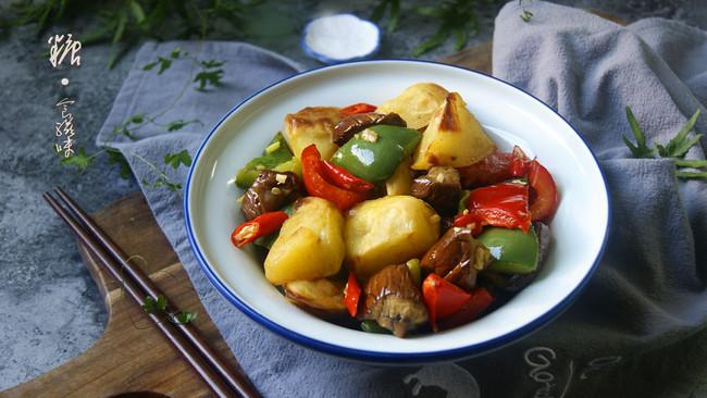 东北名菜少油版——地三鲜(空气炸锅版)的做法