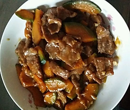 南瓜炒牛肉的做法
