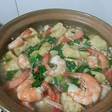 五花肉鲜虾豆腐煲(饭店味道)