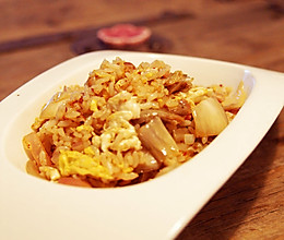 培根辣白菜炒饭的做法