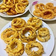炸鱿鱼圈和洋葱圈