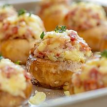 #肉食者联盟#芝士培根煎酿蘑菇|可口可爱