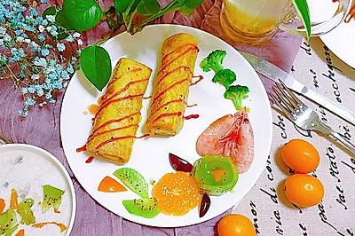 快手营养早餐香蕉吐司卷
