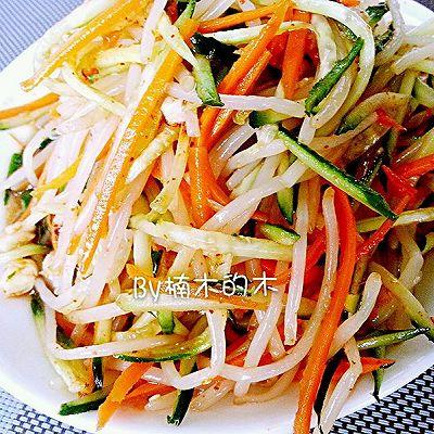 夏季开胃小菜~酸甜可口微辣的拌豆芽黄瓜胡萝卜~减肥不发胖