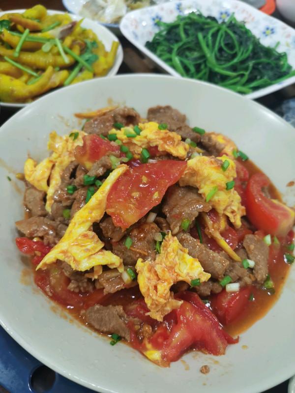 西红柿鸡蛋炒牛肉
