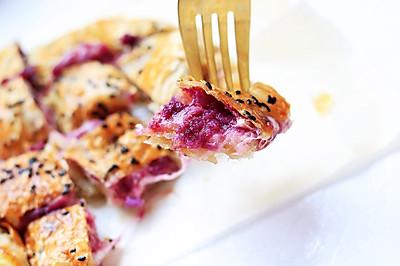 爆浆拉丝紫薯芝士饼
