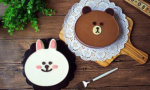 布朗熊&可妮兔(巧克力&酸奶慕斯蛋糕)的做法